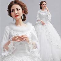 Fashionable Winter Long Sleeve Lace Wedding dress 2014 Princess White Bride dress wedding dresses vestidos de noiva Gown W66