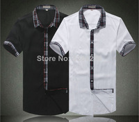Wholesale Black/White 2 Colors Men's Burber Short Shirts Manly Summer Casual Fashion Tees 100% Cotton Embroidered Logo Shirts