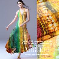 Pretty Aurora Print 100%Silk Chiffon Fabric For DIY Beach Dress/Scarf  135CM*100CM  6Mommie