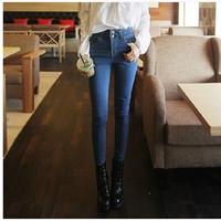 2014 Summer Autumn Denim Women High Waist Pant Pencil Hot Trousers Free Shipping Plus Size S-3XL