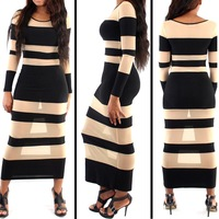 European & American Style Brand Fashion Women Clothes Perspective Star Party Casual Dress Long Sleeves Sexy Evening Dresses