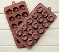 2015 Real free Shipping-2014new! 1pcs Vortex Rose Flower Shape Diy Chocolate Ice Mould Cake Mold Silicone Cake/chocolate/cookie