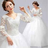 Fashionable Bride Winter Sexy V-Neck Long Sleeve Lace Wedding dress 2014 china wedding dresses vestido de noiva bridal gown W67