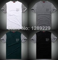 High Quality PR Brand Men V-neck T-shirts 100% Cotton 4 Colors Casual Patchwork Short Tops New Hot Manly Fashion Workout Tees