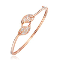 Leaves cubic zirconia Rose gold plated bangles 925 sterling silver charm bangle for women/lady gift Sra pulsera de plata