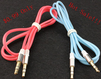 Colorful Crystal Line Stereo Audio AUX Headphone Cable For iphone 4/4s/5/5s Cell phones PC Speaker No Tracking Number#110