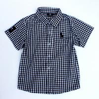lys2 short sleeve black/white plaid boys shirts brand 2-7 age kids polo shirt free shipping 5pcs/ lot