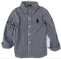lys1 long sleeve black/white plaid boys shirts brand 2-7 age children blouse casual boys polo shirt free shipping 5pcs/ lot