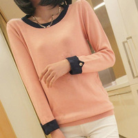 2015 Women Multi-colors Slim Long Sleeve O-Neck Knitted Sweater Ladies Autumn Winter Casual Jumper Pullover Tricotado HZ102