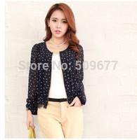 Plus size clothing summer sweet chiffon top slim long-sleeve women's polka dot chiffon lace shirt