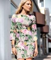 Dresses Women 2013 Autumn/Winter New Brand H Same Design Floral printing 3/4 Sleeve Retro/Vintage Celebrity Chiffon Dress