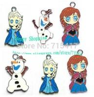Wholesale - 100pcs New Princess Frozen Olaf Elsa Anna Enamel Metal Charms Jewelry Making Pendants Earrings