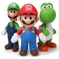Free Shipping Super Mario Bros Mario Yoshi Luigi PVC Action Figure Collection Model Toys Dolls 3pcs/set