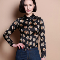 New 2015 Womens elegant casual Long sleeve lace patchwork tiger print office uniform body blouses shirts for work wear S M L XL
