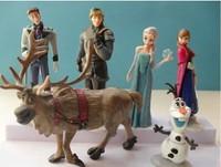 Wholesale 100 sets Movie PVC Action Figures frozen Cake Topper classic Toys set Anna Elsa Hans Sven Kristoff gift FZ220 6pcs/Set