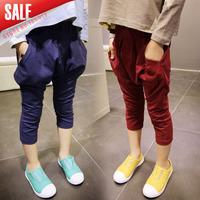 New Arrival 5pcs/1lot  2014 Autumn Fashion Girls Pure color Harem pants kids Casual trousers children bloomers 2 Color
