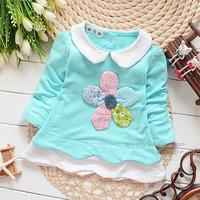 2014 autumn Free Shipping Cotton Fashion cute flower Children T Shirts,Kids Boys Tops,Child Tees longsleeve Clothing 4pcs/lot