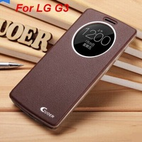For LG G3 case,Guoer open-windows series flip leather (PU) back cover case for LG G3 with screen protector