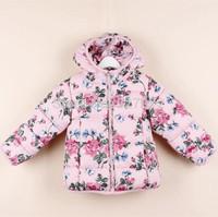New arrival 2014 autumn/Winter brand girls coat with flower print for children wear,European design girls jacket with hoodie