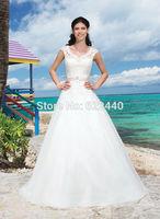 Free Shipping 2014 New Style Lace Cap Sleeves V-Neck Sash Court Train Wedding Dress