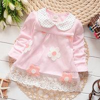 2014 autumn Free Shipping Cotton Fashion cute flower Children T Shirts,Kids Boys Girls lace Tops, longsleeve Clothing 4pcs/lot