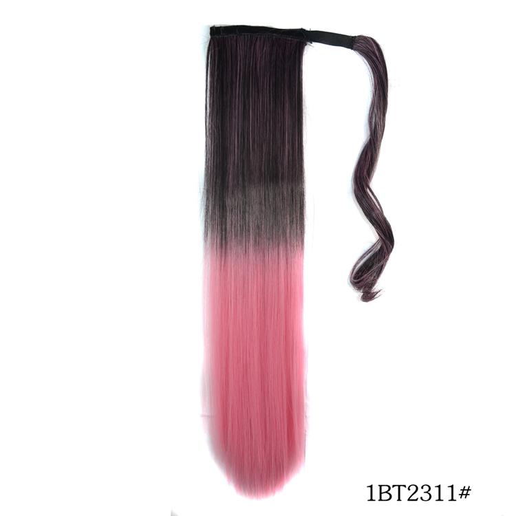 Stylish Women's Wig Velcro Ponytails Straight Hairpiece Black to Cherry Pink(China (Mainland))