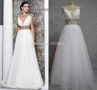 qn-112 new custom made elegant heavy beads sleeveless open back floor length real photos tarik ediz wedding dress china 2014