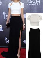 2014 Women Summer Party Maxi Dress 2pcs Black+White Evening/Party Floor Length Dress High Waist Size M L B4760