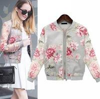 2014 European Short Style Women Jacket  Appliques Print Sunscreen All-Match Zipper Coat Spring Fall Women Outwear CL1885