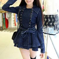 2014 Autumn Fashion Demin Jacket Coat Turn Down Collar Double Breasted Jackets Women Casacos Femininos Free Shipping WWW209