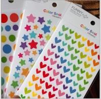 Free ship 1lot=20sets/korean stationery kawaii Colorful rainbow  Love  Five-pointed star Wave point cute cartoon DIY stickers
