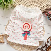 2014 autumn Free Shipping Cotton Fashion cute lolipop Children T Shirts,Kids Boys Girls dot Tops, longsleeve Clothing 4pcs/lot