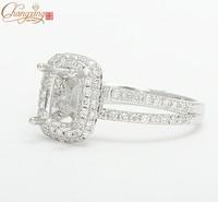 7x9mm Cuahion 14K White Gold Natural Pave Set Diamond Semi Mount Setting Ring Free Shipping