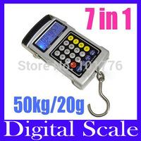 Free shipping 50KG/20g Multifunction Electronic Fishhook Digital Scale ,Protable Fishhook luggage kitchen Digital Scale,5pcs/lot