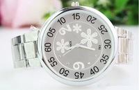 New Snow Flower Crystal Stainless Steel Watch 4CM Big Dial Men Women Business Dress Analog Wrist Watches Gifts 132925