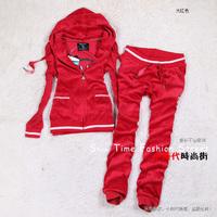 2014 spring and autumn puff sleeve velvet casual sports set female sweatshirt shut pants set
