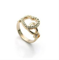 Lovely Heart Gold Rings Hollow out Fashion Rings For Women Jewelry Gifts Accessories