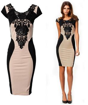 Платье облегающего фасона, средней длины, с коротким рукавом и черной вышивкой на ...