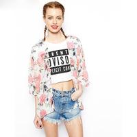 2014 New  Women's Vintage Flower Print Chiffon Blouse Shirt Women Loose Chiffon Kimono Cardigan sunset clothing 655639