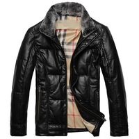 2014 new fashion brand design high quality genuine leather men's down jacket duck down padded sheepskin jackets for man M-XXXL