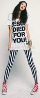 new 2014 Autumn women's leggings fashion casual black and white vertical stripes Nine minutes of pants for Women leggings
