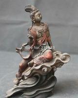 """7"""" Chinese Silver Painting Seat Kwan-yin Guan Yin Boddhisattva Goddess Statue   Free Shipping"""