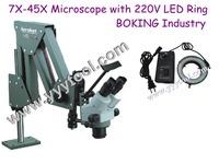 jewelry Tools 7x-45x Diamond Setting Microscope with 220V LED ring light jewelry Microscope with low price for promotion