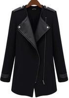 Black Blue Coats Women Casual Contrast PU Leather Trims Oblique Zipper Coat Women outwear Wool and Blend  AY851706