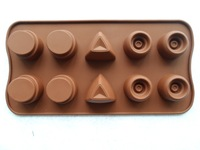 New Free shipping 2Pcs/Geometry Silicone Cake Tools Chocolate and Ice Mold Cake Decoration Jelly Pudding Manufacture Mould
