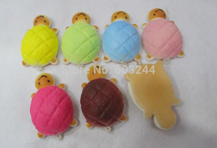 Free Ship 40pcs 7*4.5*2cm Colorful Cute Tortoise Turtle Bread Squishy Food Charm Cell Phone Strap Fashion Bag Phone Pendant(China (Mainland))