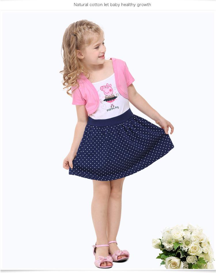 5pcs/lot peppa pig neuankömmling sommer-baby-mädchen 100% baumwolle tutu partei charakter neuheit rosa kleider babykleidung h4371