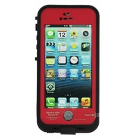 Waterproof Shockproof Fingerprint Scanner Full Case Cover for Apple Iphone 5 5S  (Works w/ Touch ID) - Red