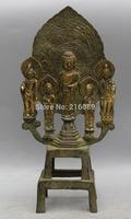 """8 """"Tibet Tibetan Buddhism Bronze Stand Shakyamuni Amitabha Buddha Statue Free Shipping"""