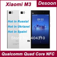 Original Xiaomi M3 Mi3 WCDMA 2GB RAM 16GB ROM Qualcomm Quad Core Cell Phones 5'' 1080p 13mp NFC Multi Language Hongmi Maksim